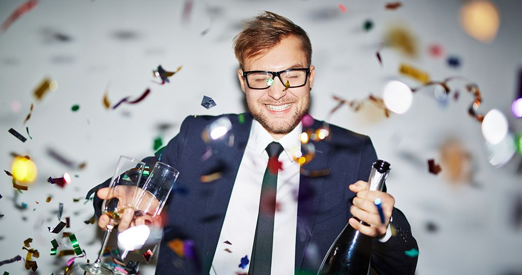 Businessman at party