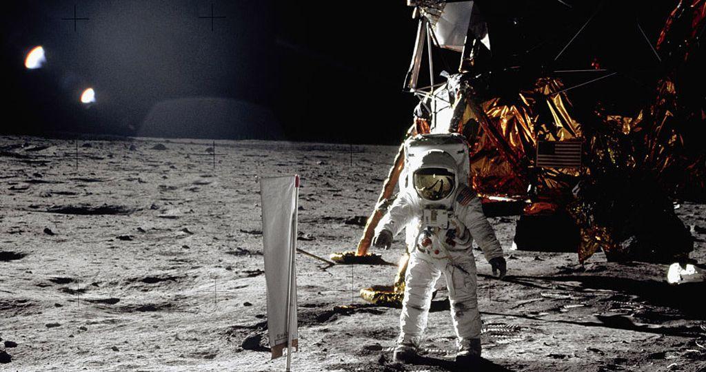 Aldrin Walking on the Moon